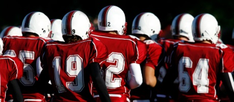 Football team with red and white uniforms