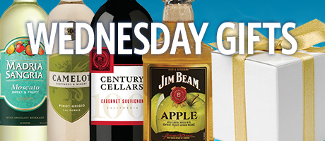 Wine, whiskey, and a white gift box with a gold ribbon represent August Wednesday gifts