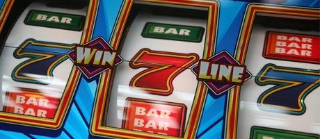 Blue 7 Red 7 Blue 7 on a slot machine